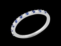 Demi alliance Victory - Or blanc 18 carats, diamants 0.10 carat et saphirs bleus