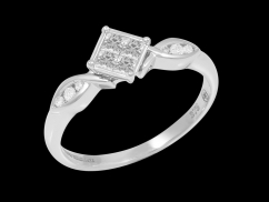 Bague Providence - Or blanc 9 carats et diamants 0.25 carat