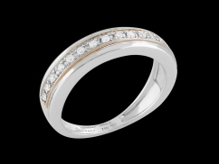 Demi Alliance Accord Parfait - Or blanc et or rose 18 carats, diamants 0.15 carat