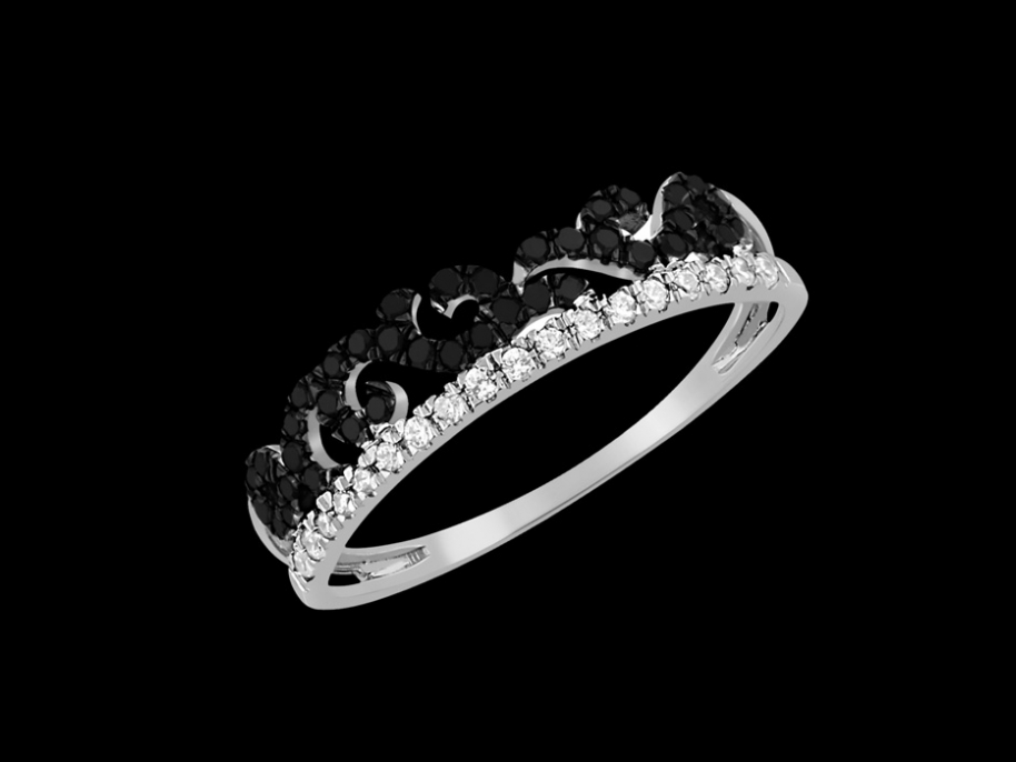 bague queen or blanc 9 carats et diamants carat taille 48. Black Bedroom Furniture Sets. Home Design Ideas
