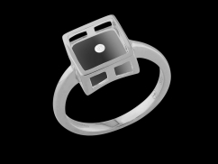 Bague Abracadabra - Or blanc 9 carats, diamant 0.02 carat et lucite