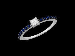 Solitaire Prestige - Or blanc 18 carats, diamants 0.07 carat et saphirs bleus