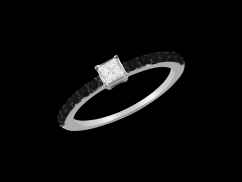 Solitaire Prestige - Or blanc 18 carats, diamants 0.07 carat et diamants noirs