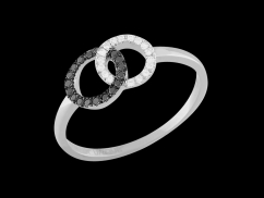 Bague Tendre Fusion - Or blanc 18 carats et diamants 0.15 carat