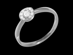 Bague Rosaria - Or blanc 18 carats et diamants 0.10 carat