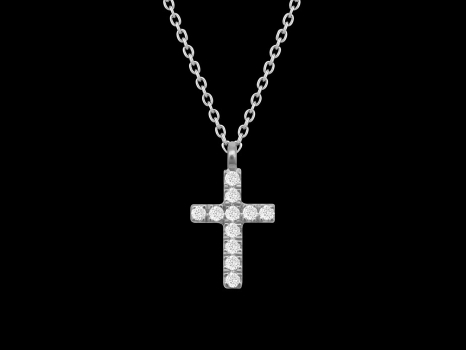 Collier Croix - Or blanc 18 carats et diamants 0.05 carat