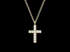 Collier Croix - Or jaune 18 carats et diamants 0.05 carat