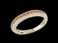 Demi alliance Amour Toujours - Or jaune 9 carats diamants 0.20 carat et saphirs oranges