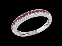 Demi alliance Amour Toujours - Or blanc 9 carats diamants 0.20 carat et saphirs roses