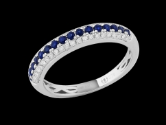 Demi alliance Amour Toujours - Or blanc 9 carats diamants 0.20 carat et saphirs