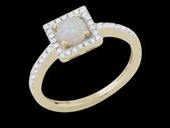 Bague Opalia - Or jaune 9 carats, diamants 0.15 carat et opale ronde 0.30 carat