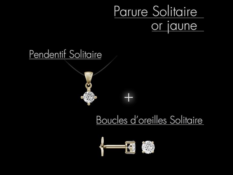 parure solitaire or jaune 18 carats et diamants. Black Bedroom Furniture Sets. Home Design Ideas
