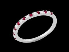 Demi alliance Victory - Or blanc 18 carats, diamants 0.10 carat et rubis - Taille 50