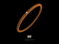 Bracelet Due Punti - Argent 800, silicone orange et diamant 0.02 carat