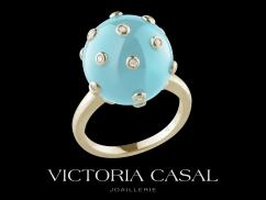 Bague Tac Tac - Or jaune 18 carats, diamants et turquoise