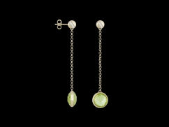 Boucles d'oreilles Aurore - Or jaune 18 carats, diamants et quartz lemon