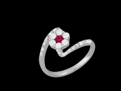 Bague Gloria - Or blanc 18 carats, diamants 0.40 carat et saphir rose