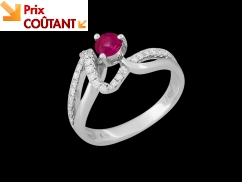 Bague Glossy - Or blanc 18 carats, diamants 0.20 carat et saphir rose