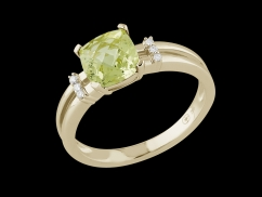 Bague Calliope - Or jaune 18 carats, diamants et quartz lemon