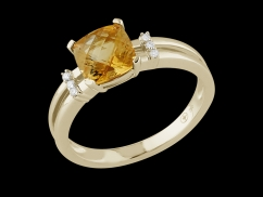 Bague Calliope - Or jaune 18 carats, diamants et citrine
