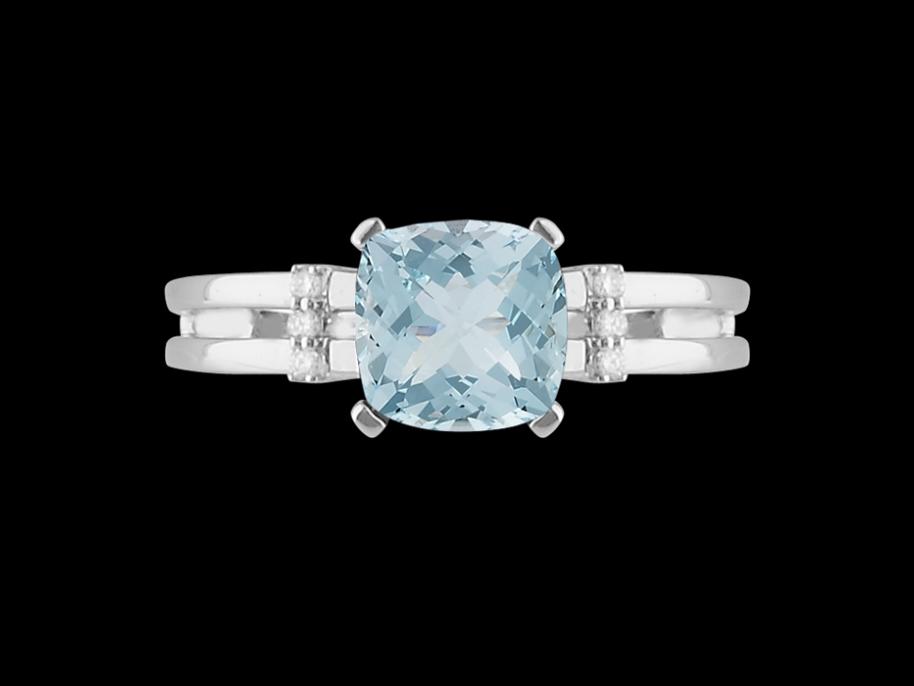bague calliope or blanc 18 carats diamants et topaze bleue taille 48. Black Bedroom Furniture Sets. Home Design Ideas