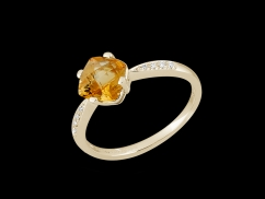 Bague Irrésistible - Or jaune 18 carats, diamants et citrine