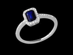 Bague Tentation - Or blanc 18 carats, diamants 0.10 carat et saphir