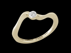 Solitaire Hypnose - Or jaune 18 carats et diamant 0.15 carat - Taille 48