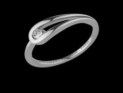 Bague Altesse - Or blanc 18 carats et diamant 0.05 carat - Taille 54