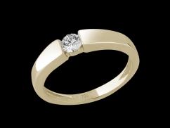 Solitaire Emotion - Or jaune 18 carats et diamant 0.20 carat - Taille 48