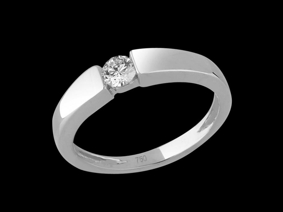 solitaire emotion or blanc 18 carats et diamant carat taille 50. Black Bedroom Furniture Sets. Home Design Ideas