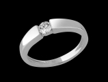 Solitaire Emotion - Or blanc 18 carats et diamant 0.20 carat