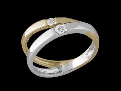 Bague Malice - Deux ors 14 carats et diamants 0.10 carat