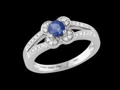 Bague Etincelle - Or blanc 18 carats, diamants 0.15 carat et saphir 0.40 carat