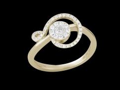 Bague Sérénade - Or jaune 18 carats et diamants 0.30 carat - Taille 48