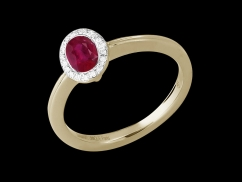 Bague Enigma - Or jaune 18 carats, diamants 0.04 carat et rubis