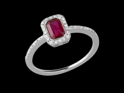 Bague Tentation - Or blanc 18 carats, diamants 0.10 carat et rubis