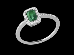 Bague Tentation - Or blanc 18 carats, diamants 0.10 carat et émeraude