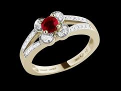 Bague Etincelle - Or jaune 18 carats, diamants 0.15 carat et rubis 0.40 carat - Taille 49