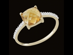 Bague Deliciosa - Or jaune 18 carats, diamants 0.05 carat et citrine