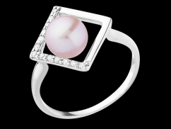 Bague Noah - Or blanc 18 carats, perle de culture rose 6/6.5mm et diamants
