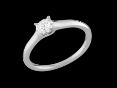 Solitaire Bouquet - Or blanc 18 carats et diamants 0.10 carat