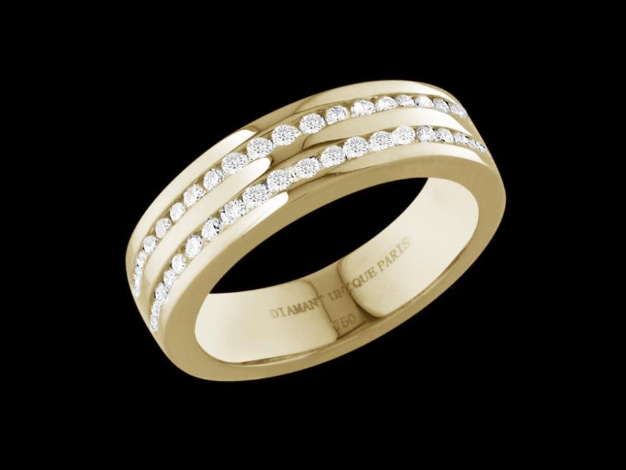 bague insouciance or jaune 18 carats et diamants carat taille 48. Black Bedroom Furniture Sets. Home Design Ideas