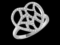 Bague Attrape coeur - Or Blanc 18 carats et diamants 0.50 carat - Taille 50