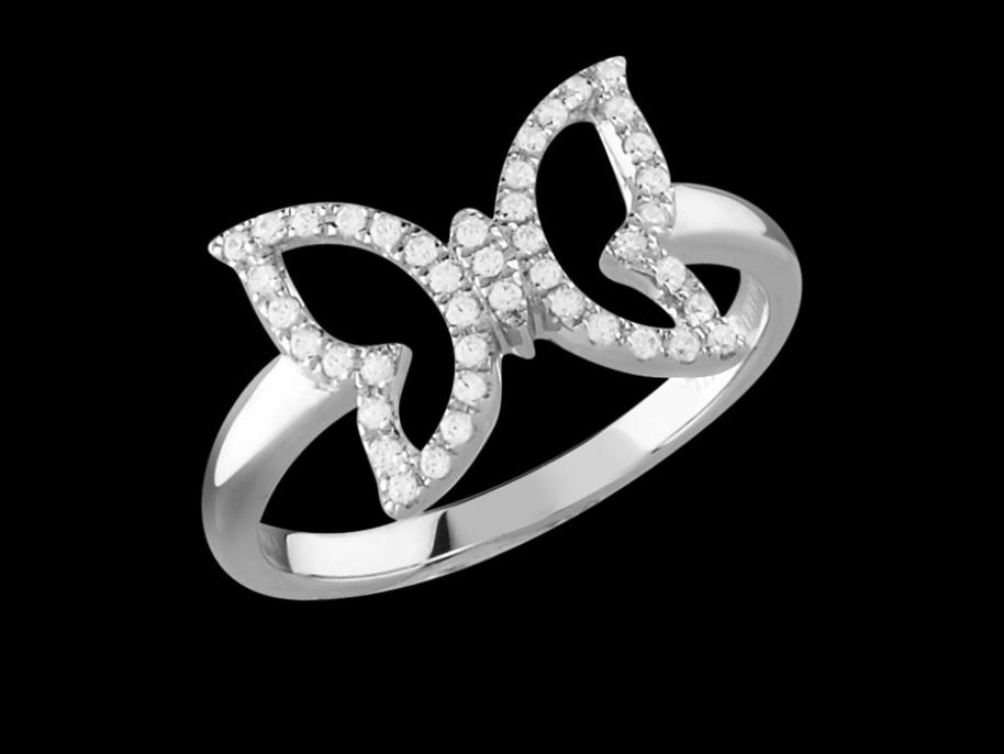 bague papilio or blanc 18 carats et diamants carat taille 50. Black Bedroom Furniture Sets. Home Design Ideas