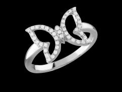Bague Papilio - Or Blanc 18 carats et diamants 0.15 carat