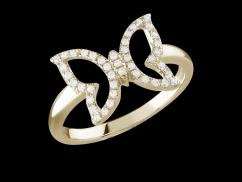 Bague Papilio - Or Jaune 18 carats et diamants 0.15 carat