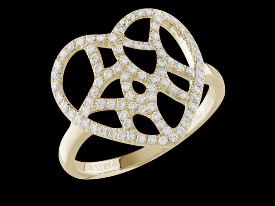 bague attrape coeur or jaune 18 carats et diamants carat taille 50. Black Bedroom Furniture Sets. Home Design Ideas