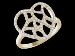 Bague Attrape coeur - Or Jaune 18 carats et diamants 0.50 carat - Taille 50