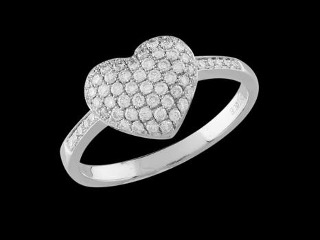 bague or et diamant coeur